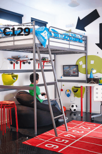 Ikea ni os novedades del cat logo 2015 en dormitorios for Estructura de cama alta ikea