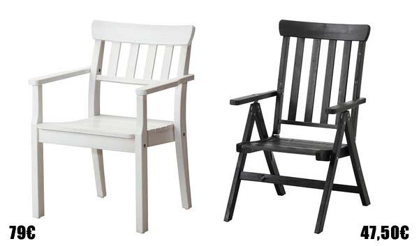 Muebles de exterior para el verano for Sillas de madera ikea